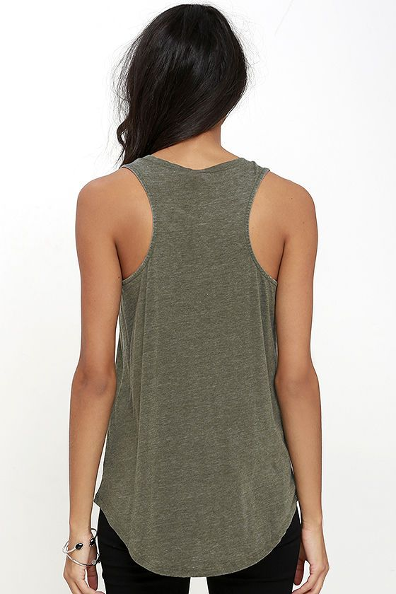 fb8a06a7ab63a Take The Racer Washed Olive Green Tank Top around the track