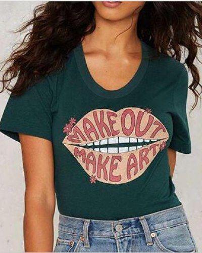 97e53de669de Letter lip t shirt for women green short sleeve tee make out make ...