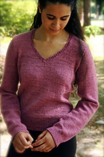 c5a91f85bc5f4 Silky V-Neck Sweater knitting pattern by Phoenix Bess - sport weight silk cashmere  blend yarn for perfect drape and cling