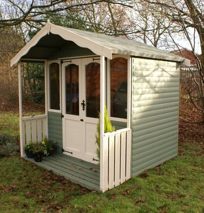 factory painted regent summerhouse with 2 verandah - Garden Sheds With Veranda