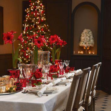 Decoration De Noel Sia.Tables De Fetes Noel Tradition En Rouge Et Blanc