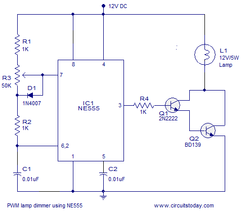pwm lamp dimmer using ne555 schematic diagram data schemapwm lamp dimmer using ne555 do it yourself! dim lighting pwm lamp dimmer using ne555 schematic