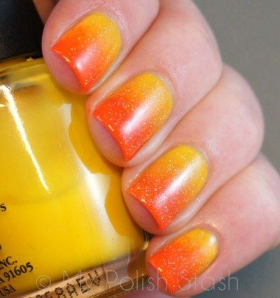 Yellow to Orange Glitter Ombré Nails