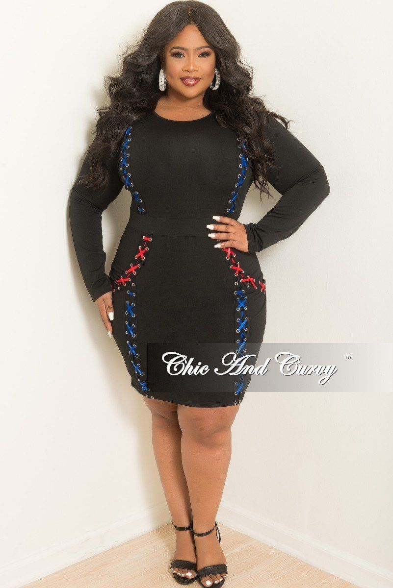 New plus size long sleeve laceup bodycon dress in black royal blue