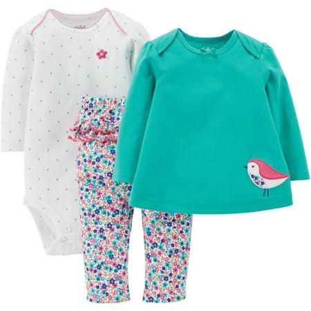 381402ec9 Child Of Mine by Carter's Newborn Baby Girl Bodysuit, T-shirt, and Pants  Outfit Set - Walmart.com