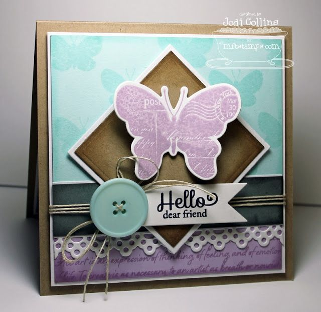 Blissful Butterflies; Art Expression Text; Blissful Butterflies Die-namics; Square STAX Set 1 and Set 2 Die-namics; Dainty Lace Border Die-namics; First Place Award Ribbon Die-namics - Jodi Collins