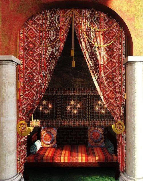 Cortina y cojines de estilo marroqu para decorar go - Telas marroquies ...