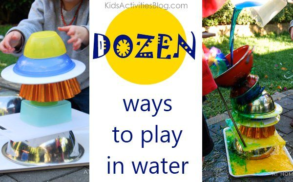 """Playing with Water: A Dozen Ideas! Plus bonus """"It's Playtime link party"""""""