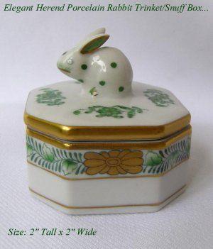 Herend Hungary Porcelain Green Rabbit Trinket Snuff Box