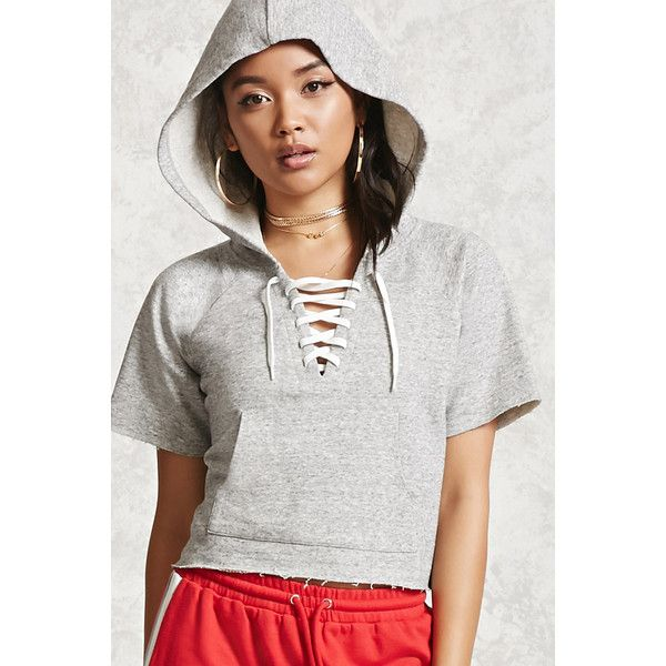 7816acc7ce0d8f Forever21 Boxy Lace-Up Hoodie ( 16) ❤ liked on Polyvore featuring tops