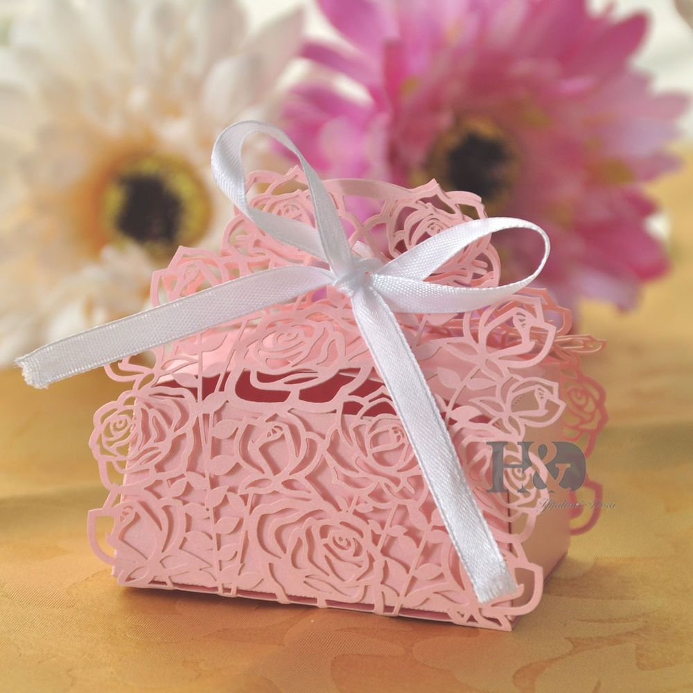 Pink Rose Laser Cut Cake Candy Gift Boxes with Ribbon Wedding Favor ...