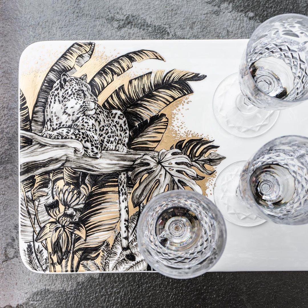"Olesya   Ultsch on Instagram: ""Friday funday! Enjoy some champagne sieved and a custom platter . . @wilmaxusa . . #leopard #platter #spirit #experience #fridayfunday…"" #fridayfunday"