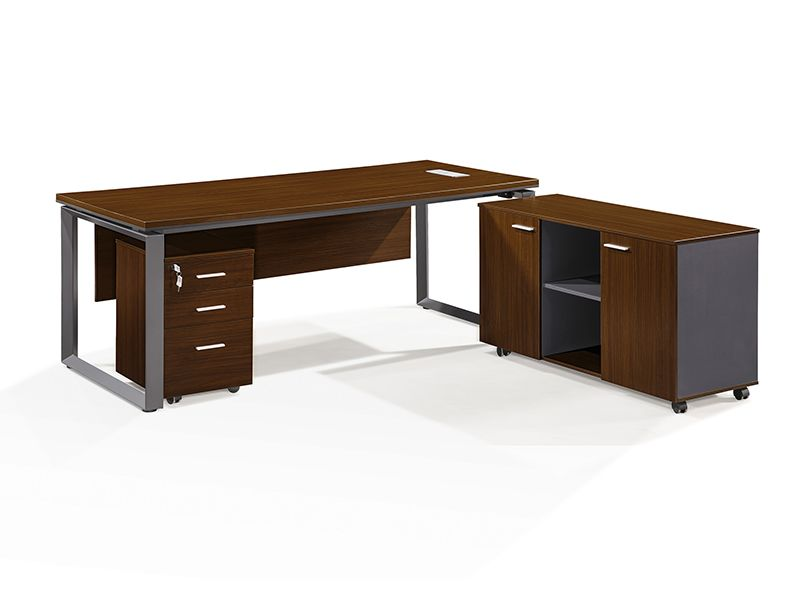 L shape metal tube Modular Office Table Design with side ...
