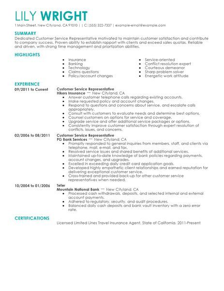 Customer Service Representative Resume Example Was Written