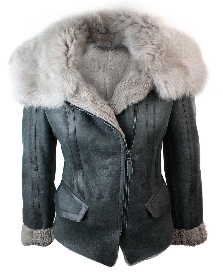 Women Short Biker Style Real Shearling Sheepskin Aviator