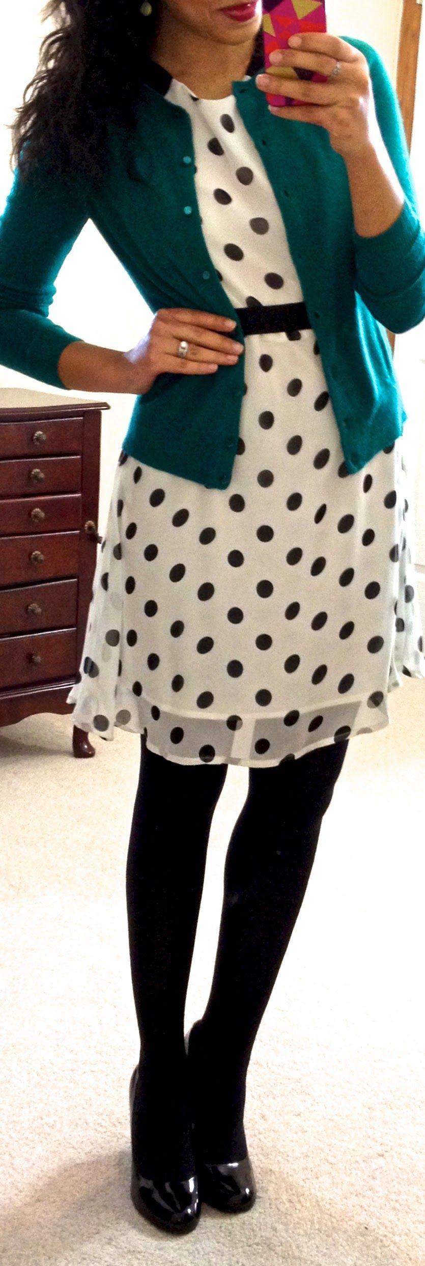 polka dot dress, cardigan, black tights, black shoes ...