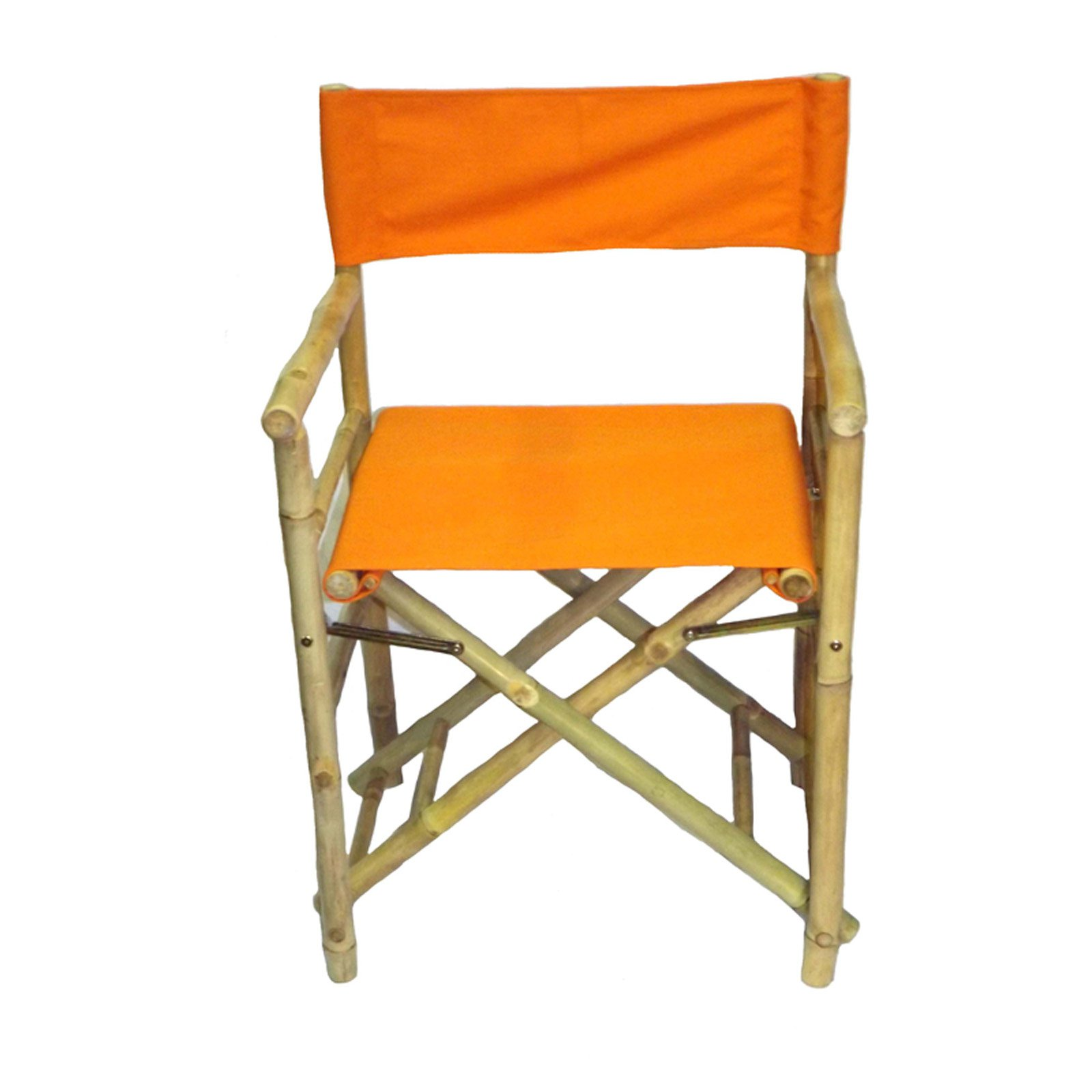 Outdoor Bamboo54 Folding Bamboo Low Directors Chair With Canvas Cover Set Of 2 Orange