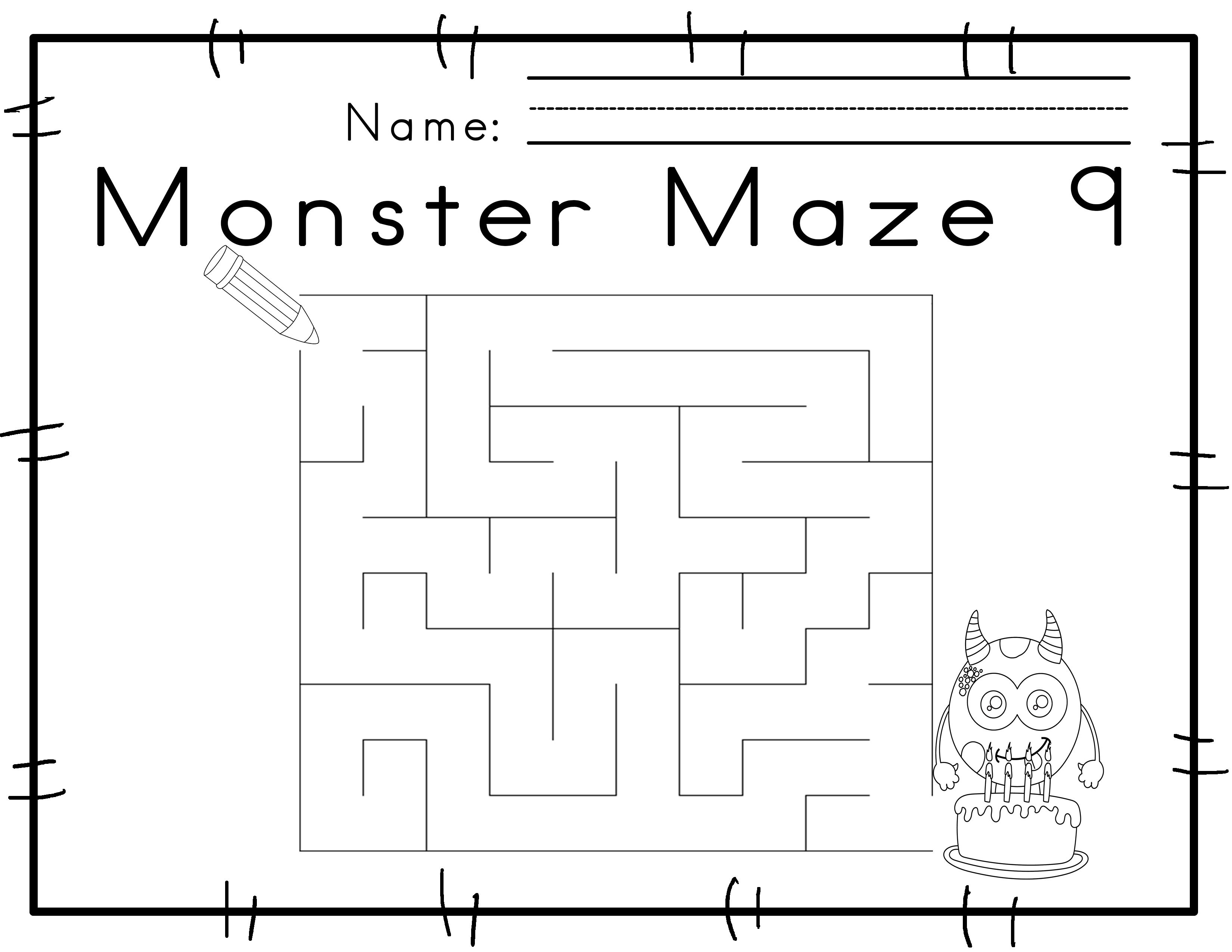 Worksheets For Motor Skills Mazes Monster Themed