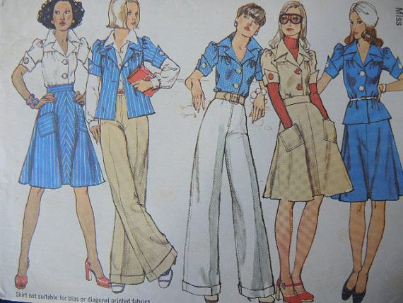 vintage 1970s Simplicity sewing pattern 6110 misses blouse skirt and ...