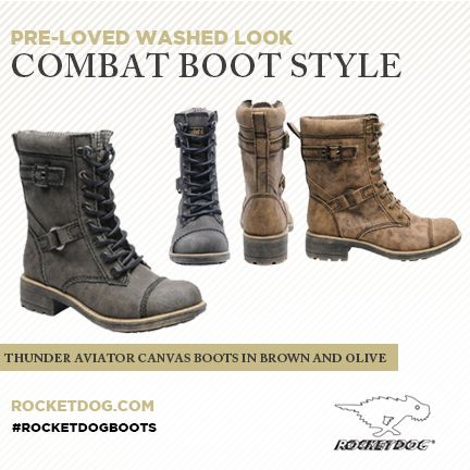 """Everything about our Rocket Dog Thunder boot screams, """"YES""""!We love the masculine/feminine mix of combat-style boot with a pre-loved washed look. Thunder is almost like you borrowed your boyfriend's boots, but in your size. This boot is a fabulous complement to pair with a maxi skirt, or denim leggings. #RocketDogBoots http://www.rocketdog.com/boots/thunder-aviator-canvas/invt/thunderac"""