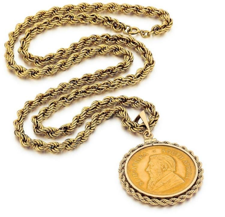 Sold Price Krugerrand Pendant And Neck Chain June 3 0116 12 00 Pm Edt Neck Chain Chain Pendant
