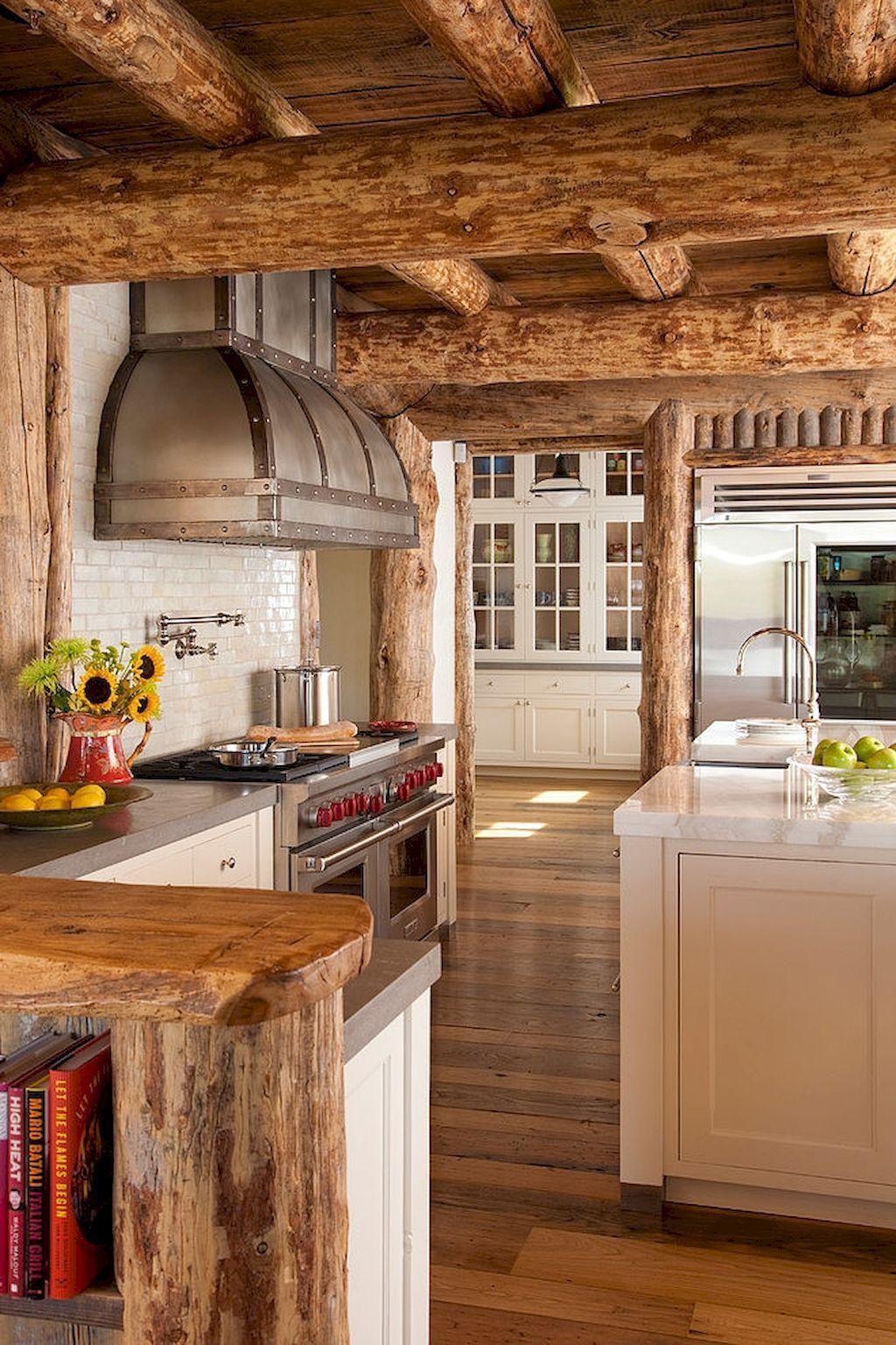 120 modern rustic farmhouse kitchen decor ideas 62 log cabin kitchens rustic house rustic on kitchen id=37677
