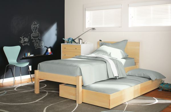 Modern Pogo Twin Bed In Shell Stain Maple Wood Kids Furniture