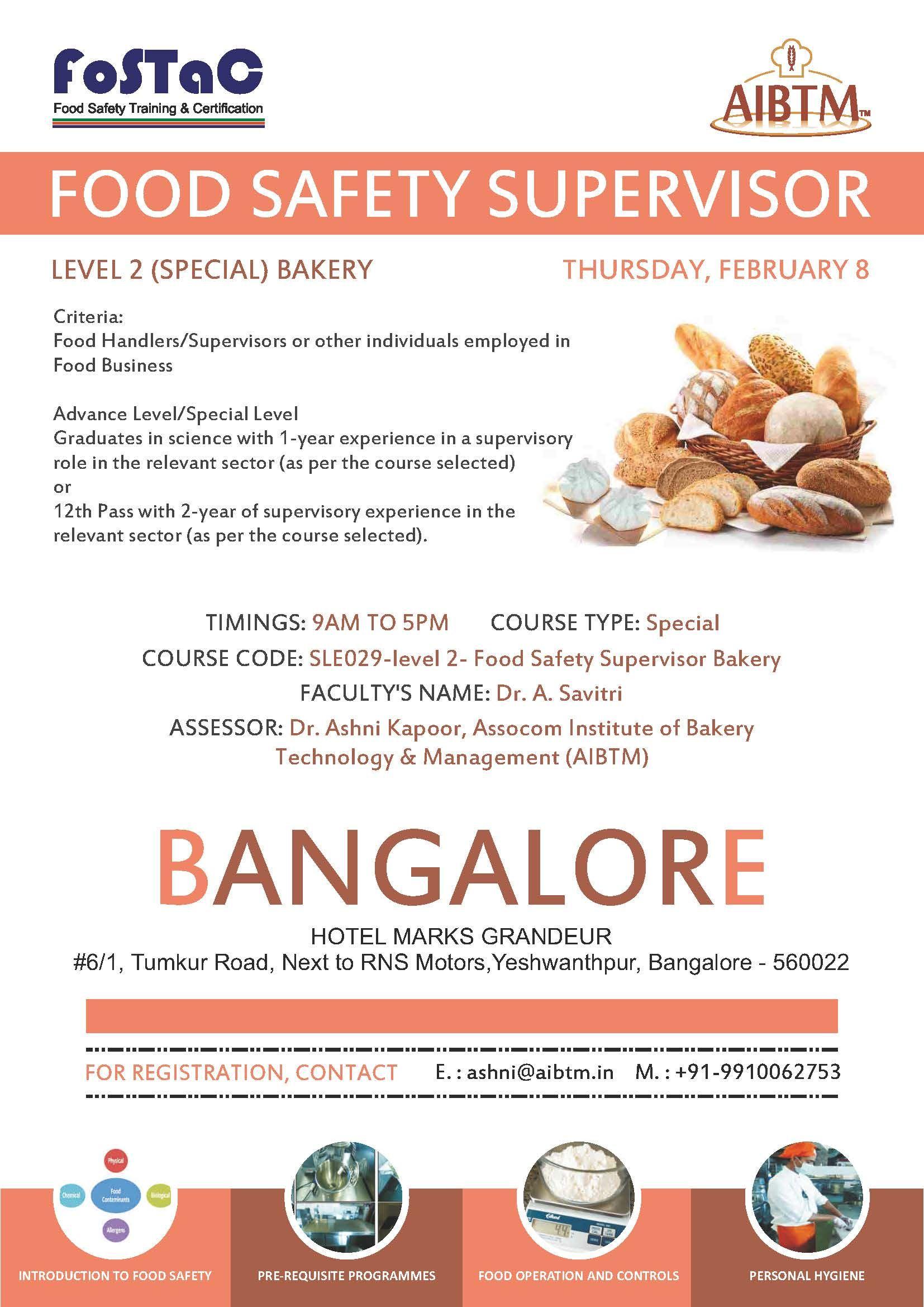 Enroll Food Safety Supervisor Training Program on Level 2