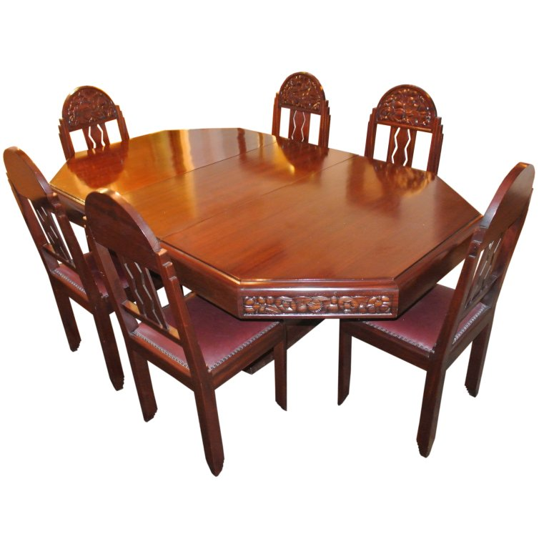 Cool Unique Art Deco French Carved Dining Table With Chairs In Home Interior And Landscaping Staixmapetitesourisinfo