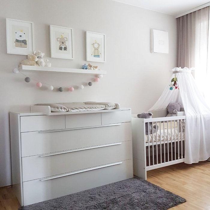 Baby Zimmer Junge, Mädchen, neutral, grau, Form, Babybett, Himmel, wickeln ...   - Babyzimmer einric...