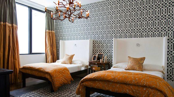 lucinda loya interiors stunning orange gray bedroom with kelly wearstler imperial trellis. Black Bedroom Furniture Sets. Home Design Ideas