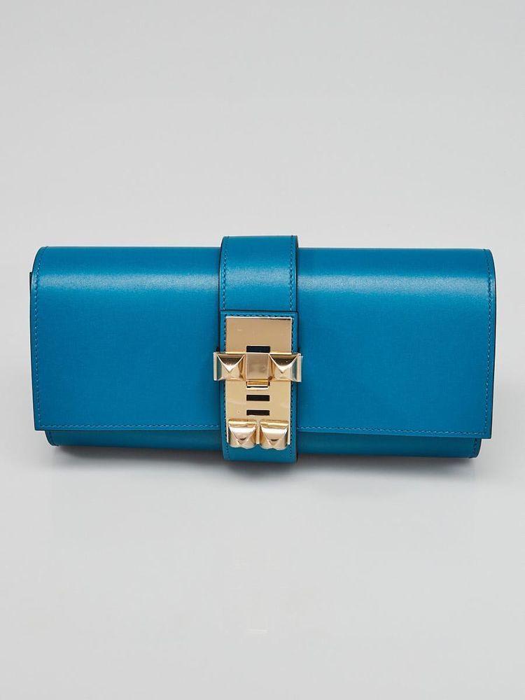 eb16422adcb Hermes 23cm Blue Izmir Tadelakt Leather Gold Plated Medor Clutch Bag  Hermes   ClutchesEveningBags
