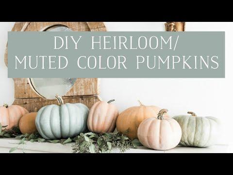 1 Diy Muted Color Heirloom Pumpkins Youtube Painted Pumpkins Fall Decor Diy Fall Halloween Decor