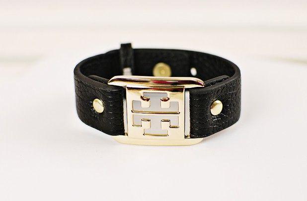 GroopDealz   Designer Inspired Leather Emblem Bracelets