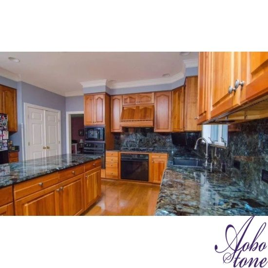 Lemurian Blue Labradorite Kitchen With Full Backsplash