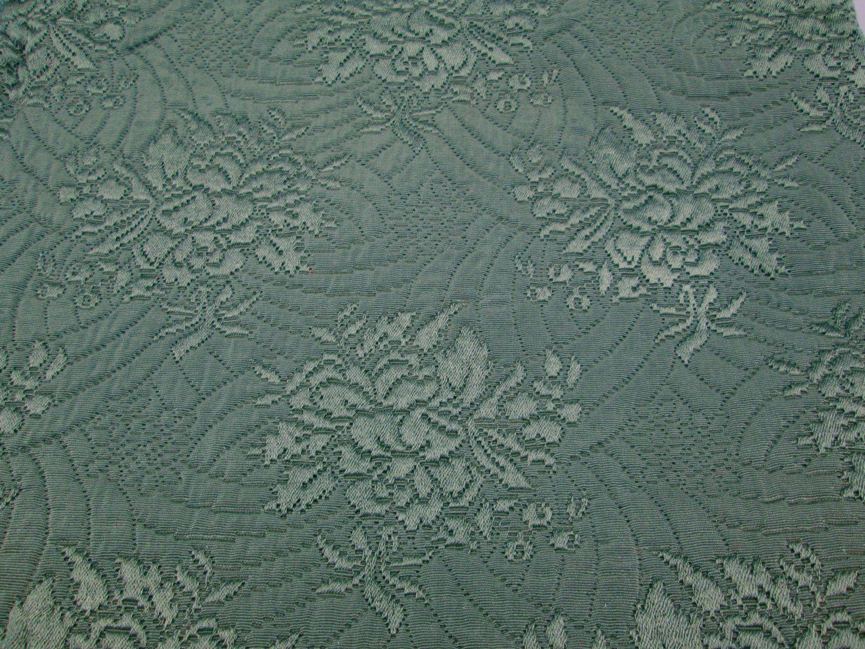 Vintage Brocade Matelasse Upholstery Fabric Bottle Green Roses