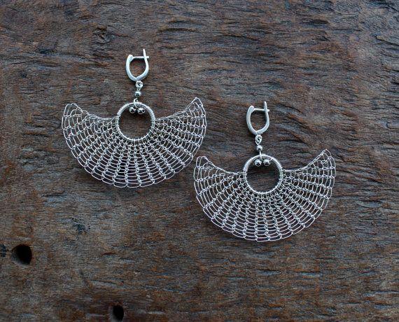 KAREN Silver Plated Wire Crocheted Knitted Earrings от Ksemi