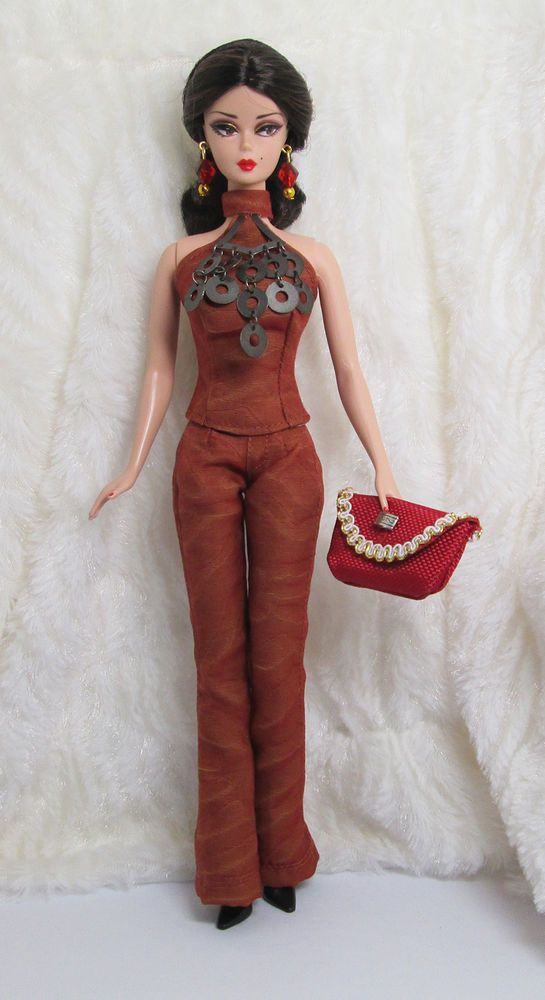 Handmade Rose Brown Silk Outfit Dress Bag Glove Jewelry For Silkstone Doll