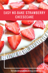 Easy No-Bake Strawberry Cheesecake #homemadegrahamcrackercrust This easy no bake strawberry cheesecake is the perfect light and refreshing dessert. Even though it is homemade, it is quick to make, lush, and full of possibilities. The cream cheese and Cool Whip base makes it easy to try different flavors like cherry or other fruit toppings. It would even be delicious with peanut butter or chocolate! In addition to the filling, there are instructions for an easy homemade graham cracker crust if yo #homemadegrahamcrackercrust