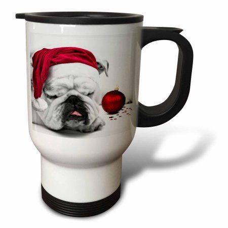 3dRose Sleeping Bulldog in a Santa Hat Christmas Card photo courtesy of Esther Matheus, Travel Mug, 14oz, Stainless Steel