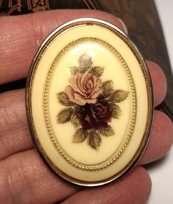 Vintage Pink Dark Rose Lucite Cameo Costume Brooch by Glamaroni