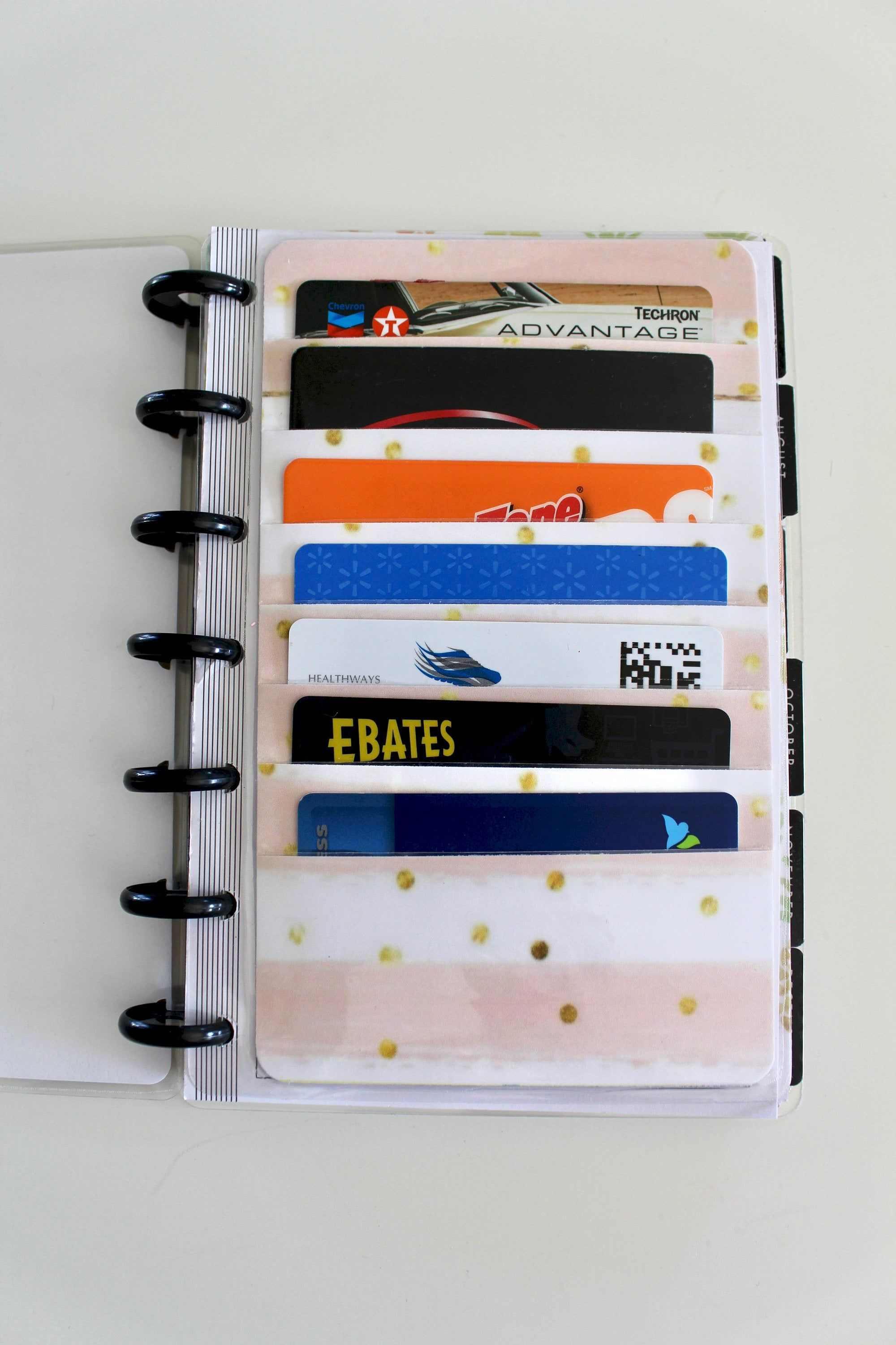 Happy planner mini credit card holder holds 7 cards pink