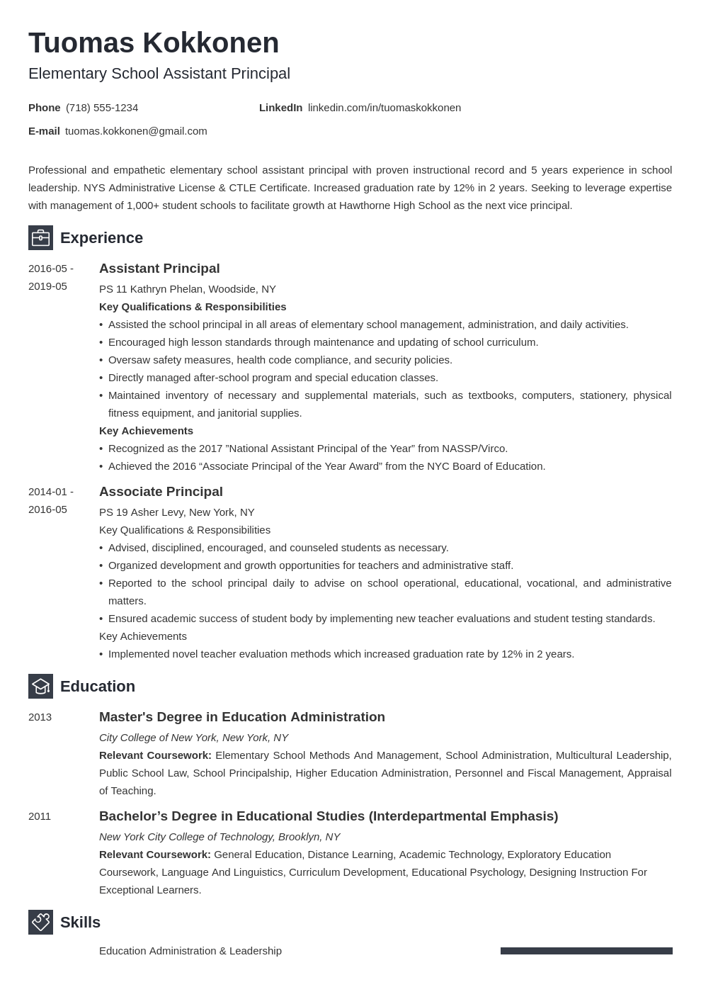 assistant principal resume example template newcast