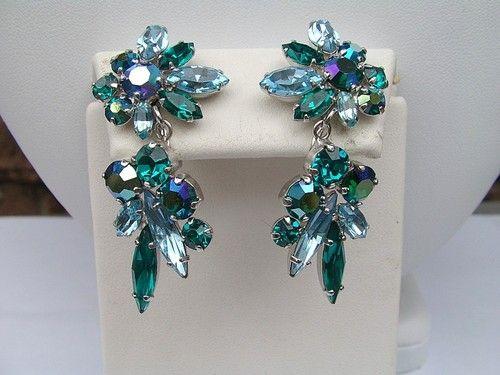 SHERMAN signed Emerald Green Rhinestone NECKLACE & EARRINGS  forgetmeknotantiques (seller) ebay.com