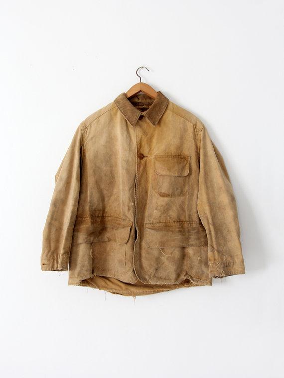 cf57615fc1af3 vintage 30s Duxbak field coat, men's canvas hunting jacket, canvas ...