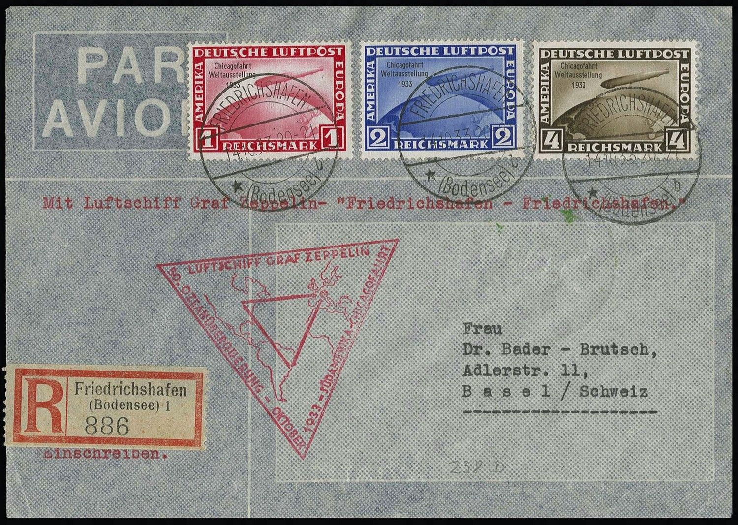 GERMANY 1933 Century of Progress Flight,  #C43-45 tied on registered…