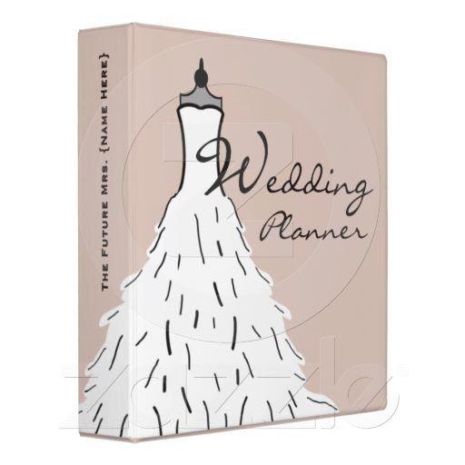 Feathery Wedding Dress 3 Ring Binder