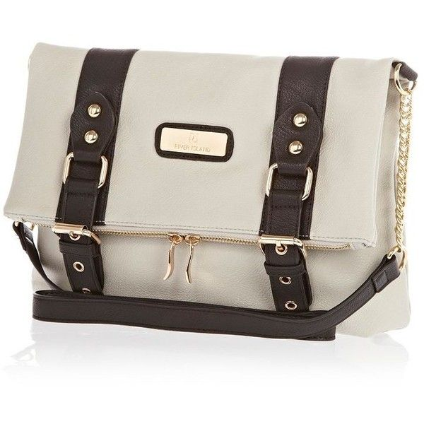 River Island Grey Foldover Chain Strap Satchel ($40) found on Polyvore