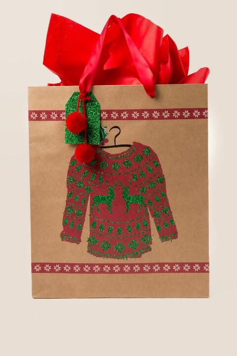 081e3c46c4 Ugly Christmas Sweater Large Gift Bag
