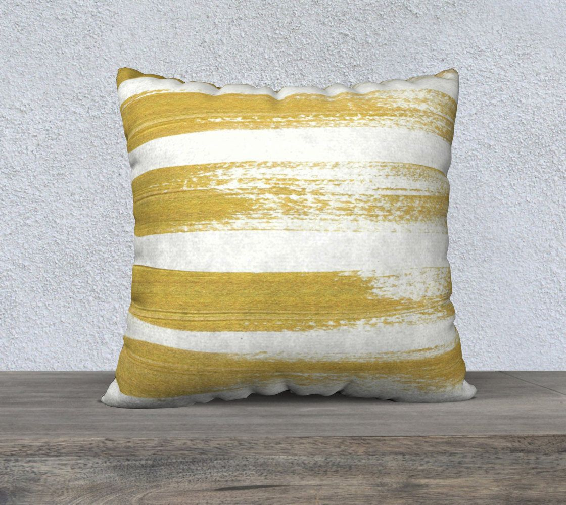 Gold Brushstrokes Pillow Case in Various Sizes. by LisaGuenDesign on Etsy